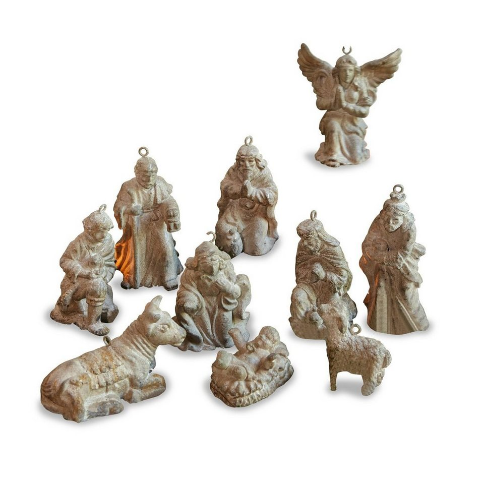 Loberon Krippenfiguren 10er-Set »Holy Family« in grau
