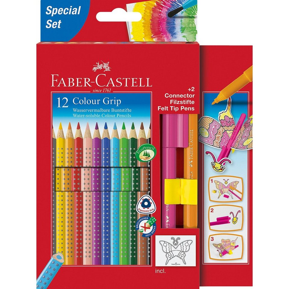 Faber-Castell COLOUR GRIP Farbstift wasservermalbar, 12 Farben & 2 CONNECT
