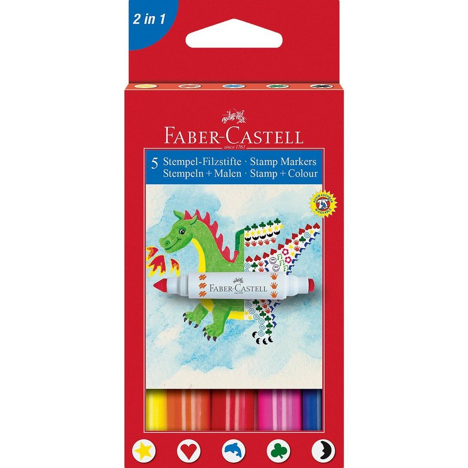 Faber-Castell Filzstifte 2in1 Stempeln & Malen, 5 Farben