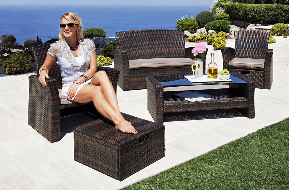 loungeset salerno premium 9 tlg 2 sessel fu hocker 2er sofa tisch polyrattan online. Black Bedroom Furniture Sets. Home Design Ideas