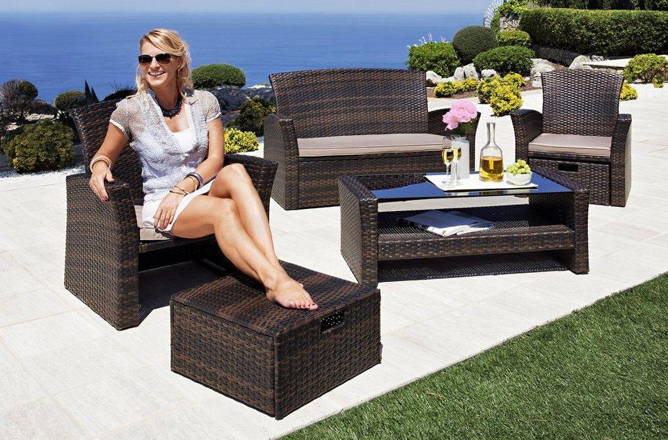 loungeset salerno premium 9 tlg 2 sessel m fu hocker 2er sofa tisch polyrattan online. Black Bedroom Furniture Sets. Home Design Ideas
