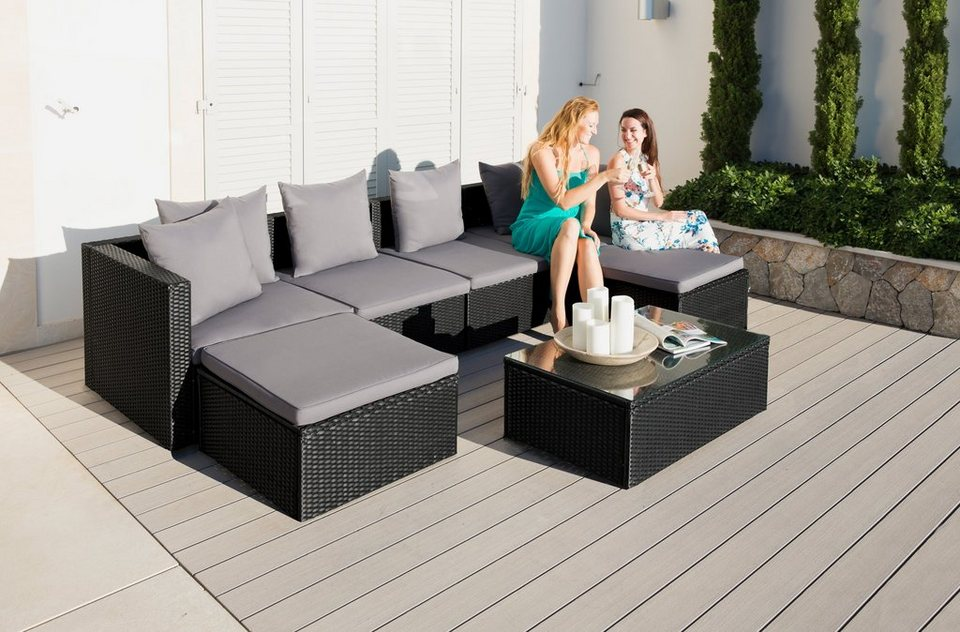 gartenm belset singapur 19 tlg 2 eckteile 2 sessel 2 hocker tisch polyrattan online. Black Bedroom Furniture Sets. Home Design Ideas