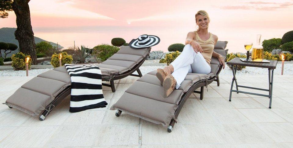 Sonnenliege »Capri« im 2er-Set inklusive Hocker in braun