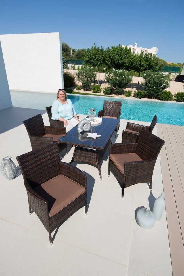 13.tgl. Gartenmöbelset »Santiago XL«, 6 Sessel, Tisch 150x80 cm, Polyrattan, braun in braun