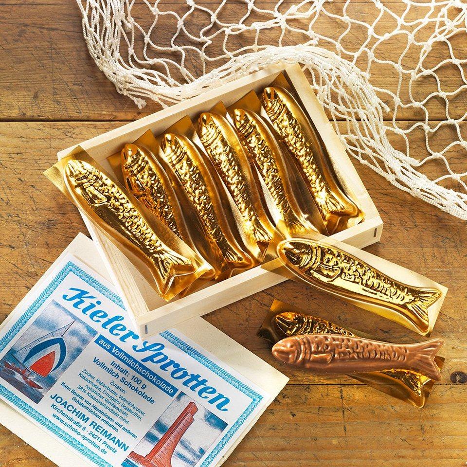 Schrader Schokolade Kieler Sprotten in Holzkiste