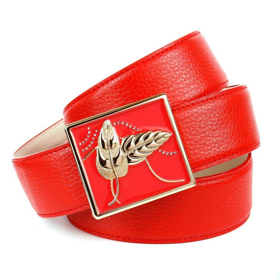 Anthoni Crown Roter Ledergürtel mit Schließe in Limited Edition in Rot