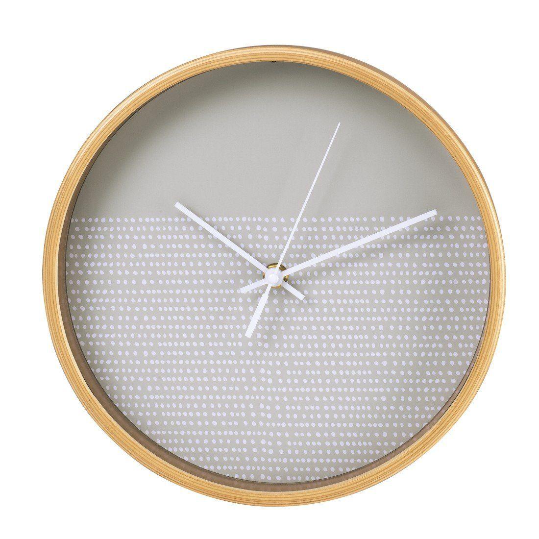 Hama Wanduhr geräuscharme Uhr ohne Ticken, leise, 26 cm, Holz »modernes Punkte-Design, rund«