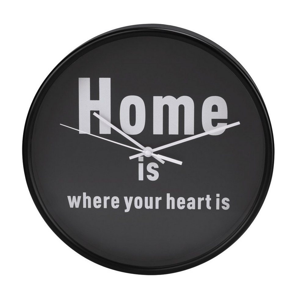Hama Wanduhr geräuscharme Uhr ohne Ticken, leise, 26 cm, rund »Home is where your heart is«