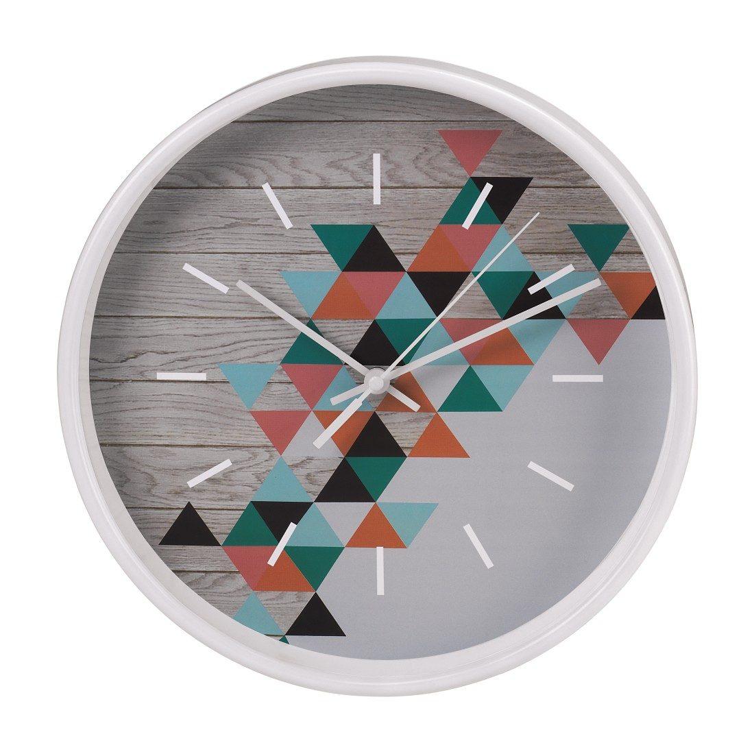 Hama Wanduhr geräuscharme Uhr ohne Ticken, leise, 26 cm, rund »modernes Dreieck-Design«