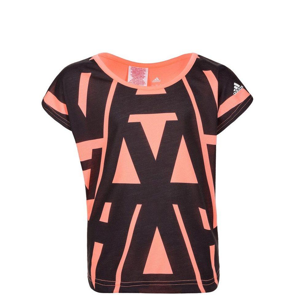 adidas Performance Wardrobe Typo Allover Printed Trainingsshirt Kinder in rosa / schwarz