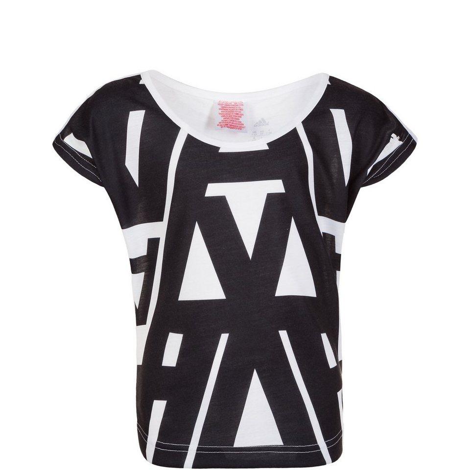 adidas Performance Wardrobe Typo Allover Printed Trainingsshirt Kinder in weiß / schwarz