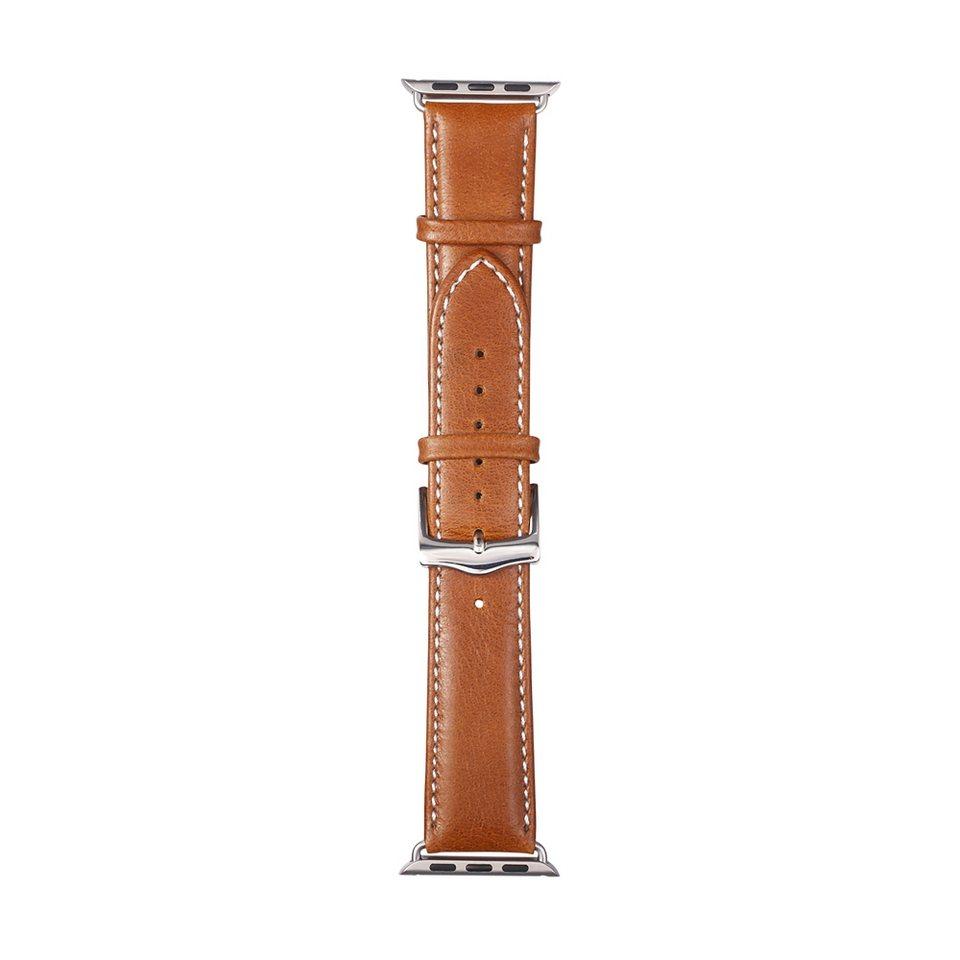 dbramante1928 Lederarmband »Copenhagen Apple Watch 38 mm Watch Strap Silver/Ta« in braun