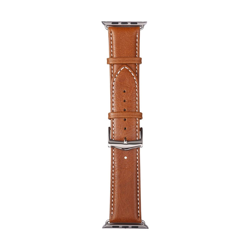 dbramante1928 Lederarmband »Copenhagen Apple Watch 42 mm Watch Strap Silver/Ta« in braun