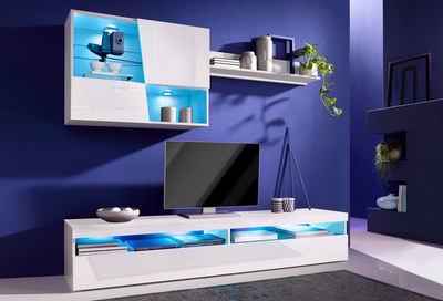 Wohnzimmermöbel weiß matt  Wohnwand in weiß » Hochglanz & Matt kaufen | OTTO