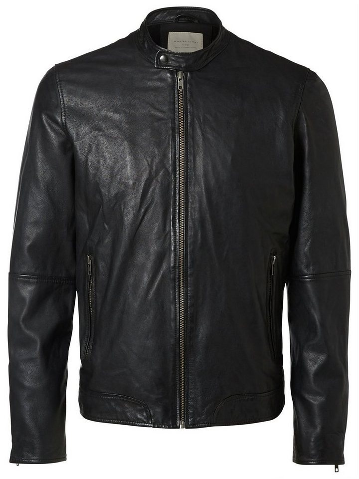Selected Detaillierte Lederjacke in Black