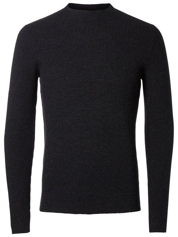 Selected Warmer Strickpullover in Anthracite