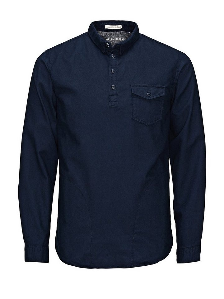 Jack & Jones Long-Fit- Freizeithemd in Navy Blazer