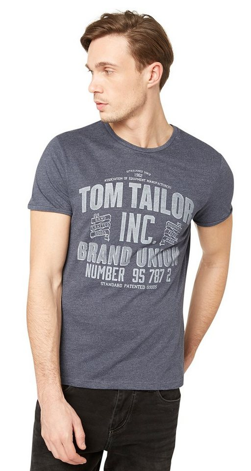 TOM TAILOR T-Shirt »T-Shirt mit TOM TAILOR Print« in outer space blue