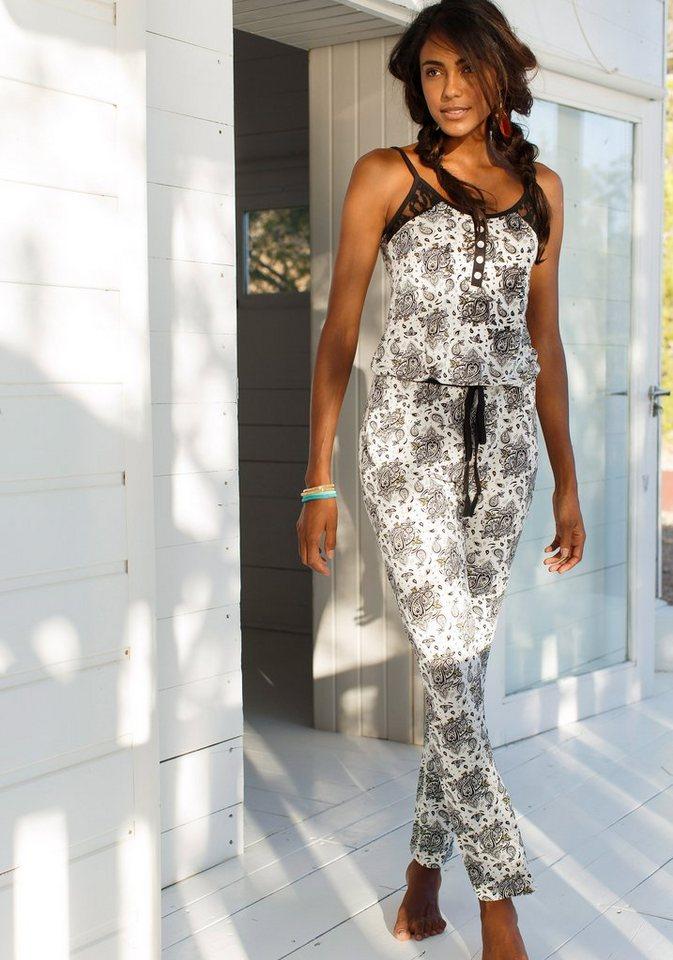 LASCANA Jumpsuit Schwarz-weißes Design mit Perlmuttknöpfen in schwarz gemustert