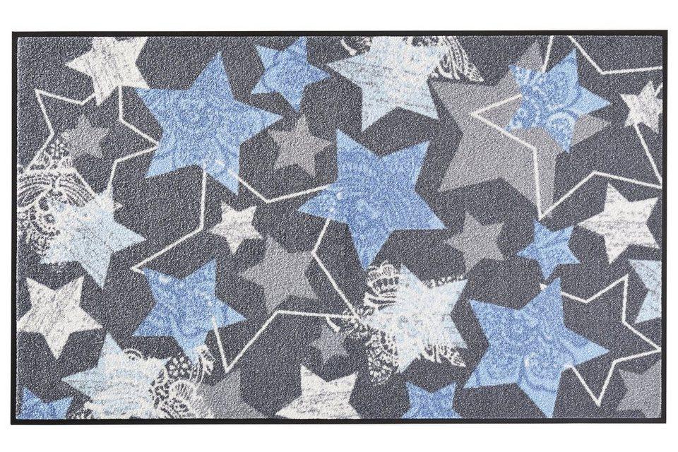 wash & dry Fußmatte in grau/blau