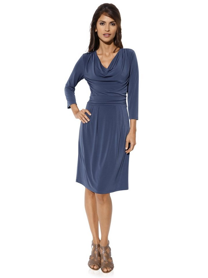 ASHLEY BROOKE by Heine Jerseykleid mit Raffungen in blau