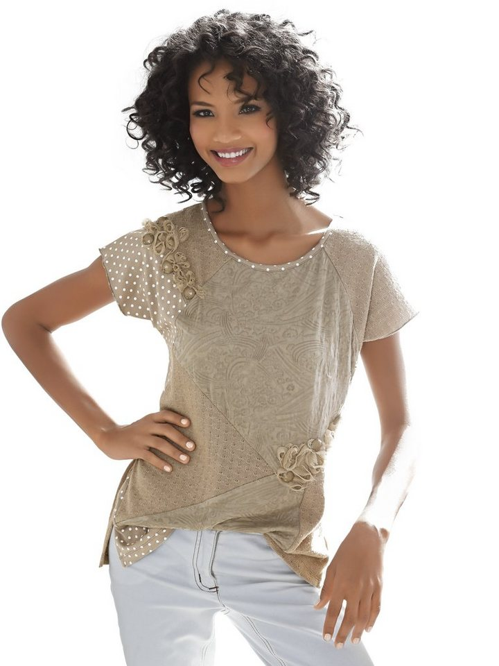 Patchshirt in taupe