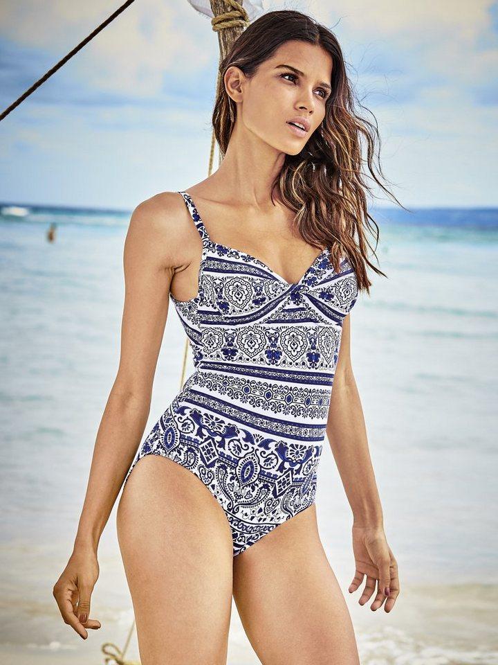 Heine Bügel-Badeanzug in weiß/blau