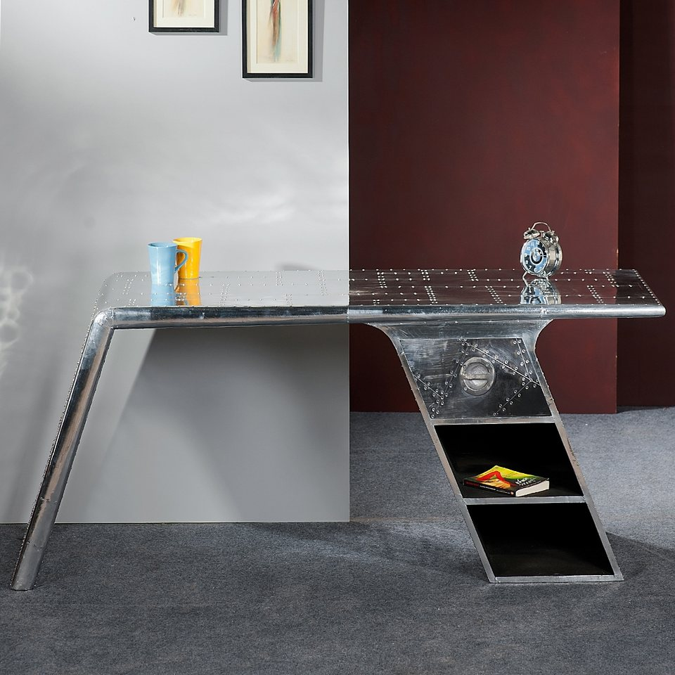 SalesFever Schreibtisch Alu mit Zierschrauben Schublade und 2 Ablagefächer »Aero« in metallisch