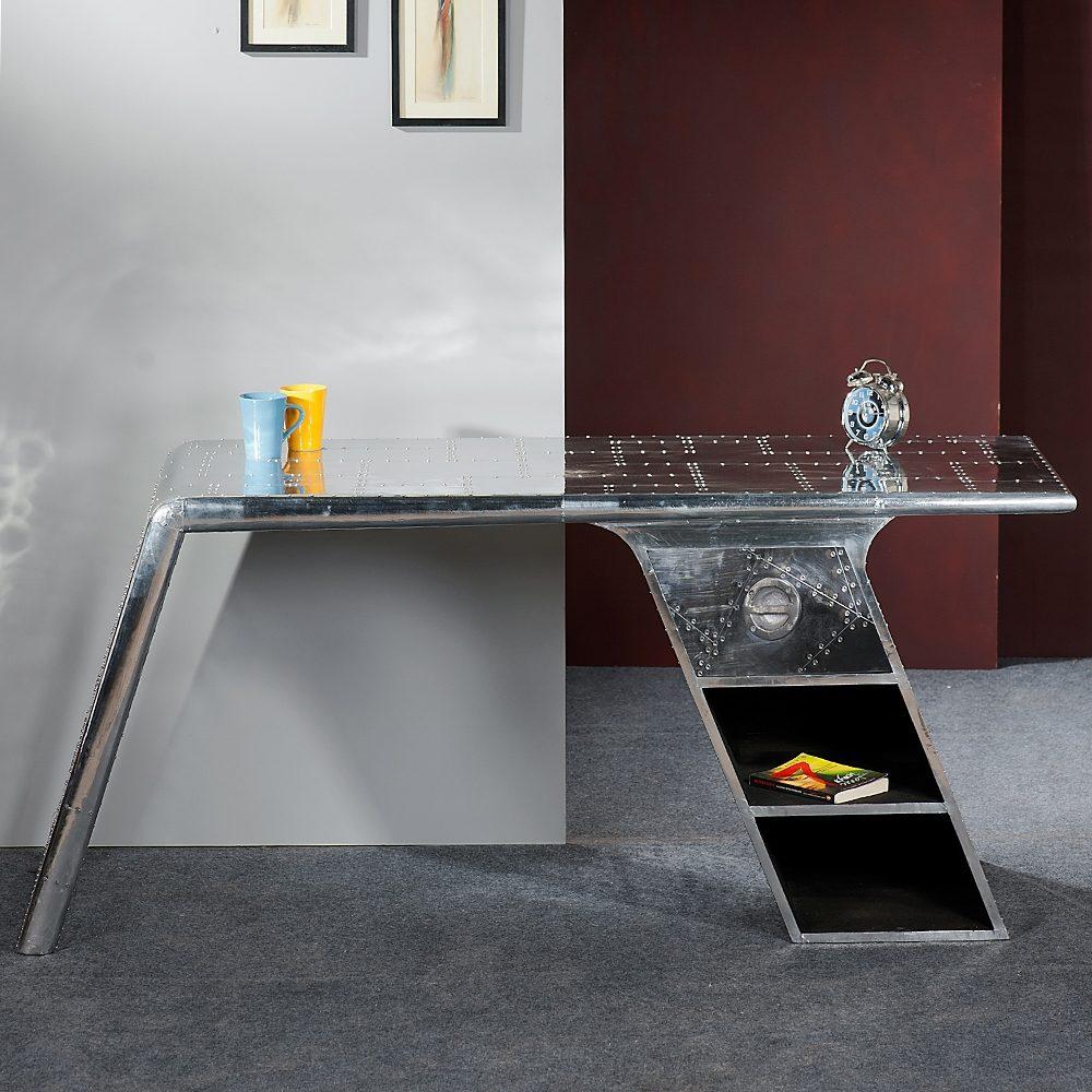 SalesFever Schreibtisch Alu mit Zierschrauben Schublade und 2 Ablagefächer »Aero«