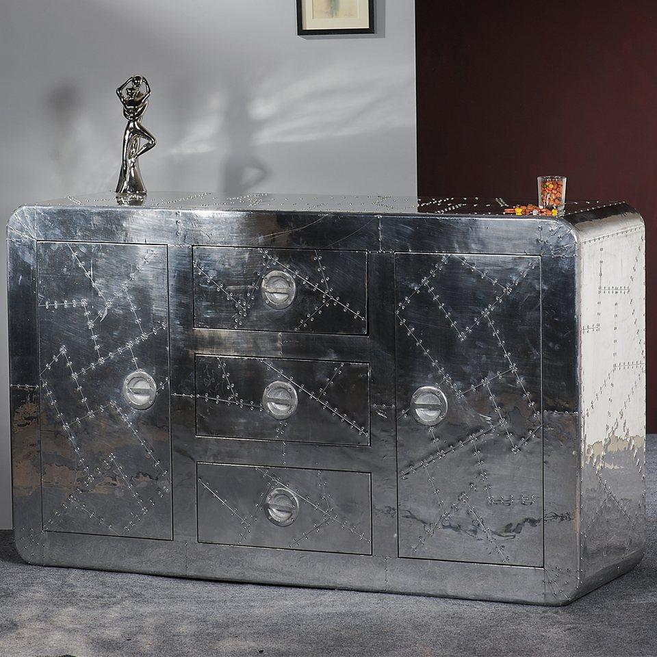 SalesFever Sideboard Alu mit Zierschrauben 2 Türen und 3 Schubladen »Aero« in metallisch