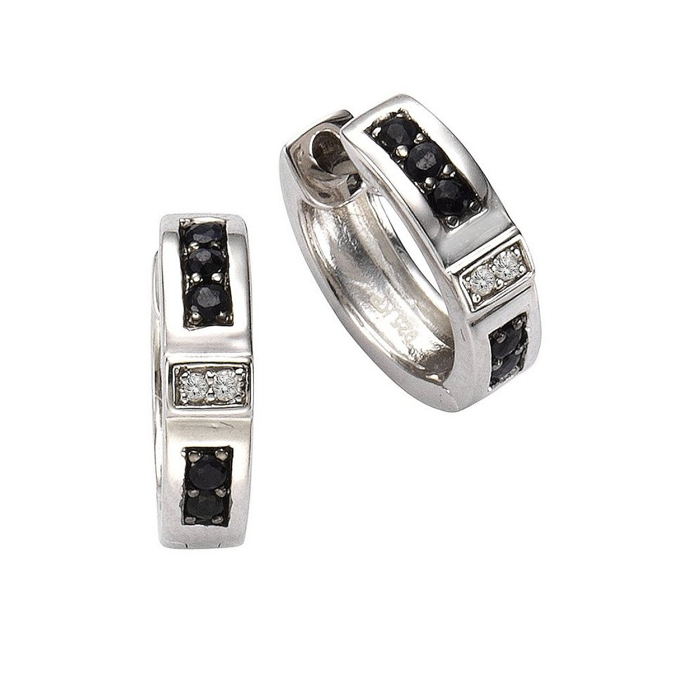 CELESTA Creolen »925/- Silber 4x Diamant« in weiß