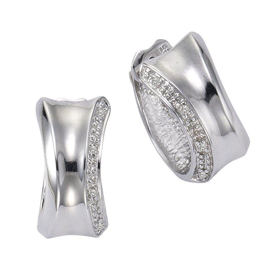 CELESTA Creolen »925/- Silber 8xDiamant« in weiß