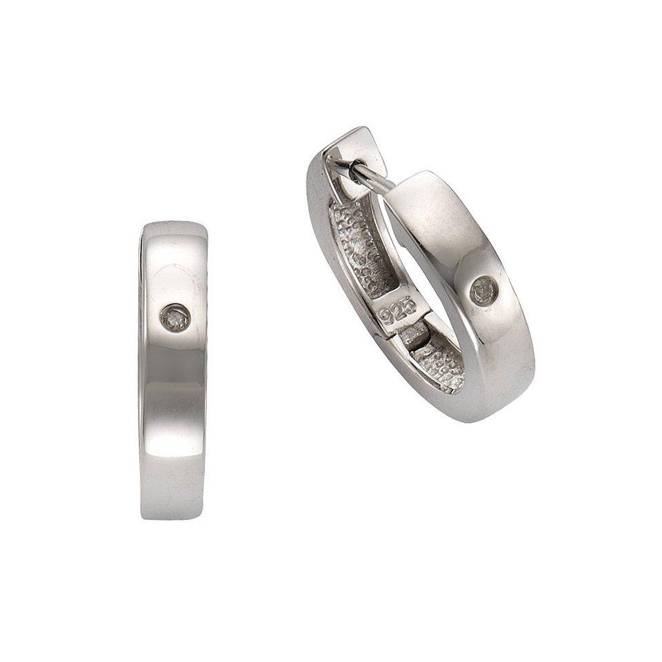 CELESTA Creolen »925/- Silber 2x Diamant« in weiß