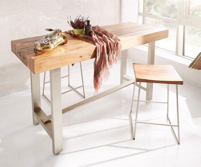 Barmöbel - DELIFE Stehtisch Blokk Akazie Natur 165x60 Bartisch Industrial Style  - Onlineshop OTTO