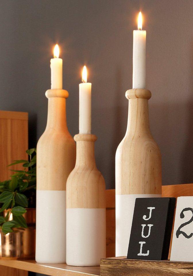 Home affaire Kerzenständer »Flaschen«, (3-tlg.) in natur