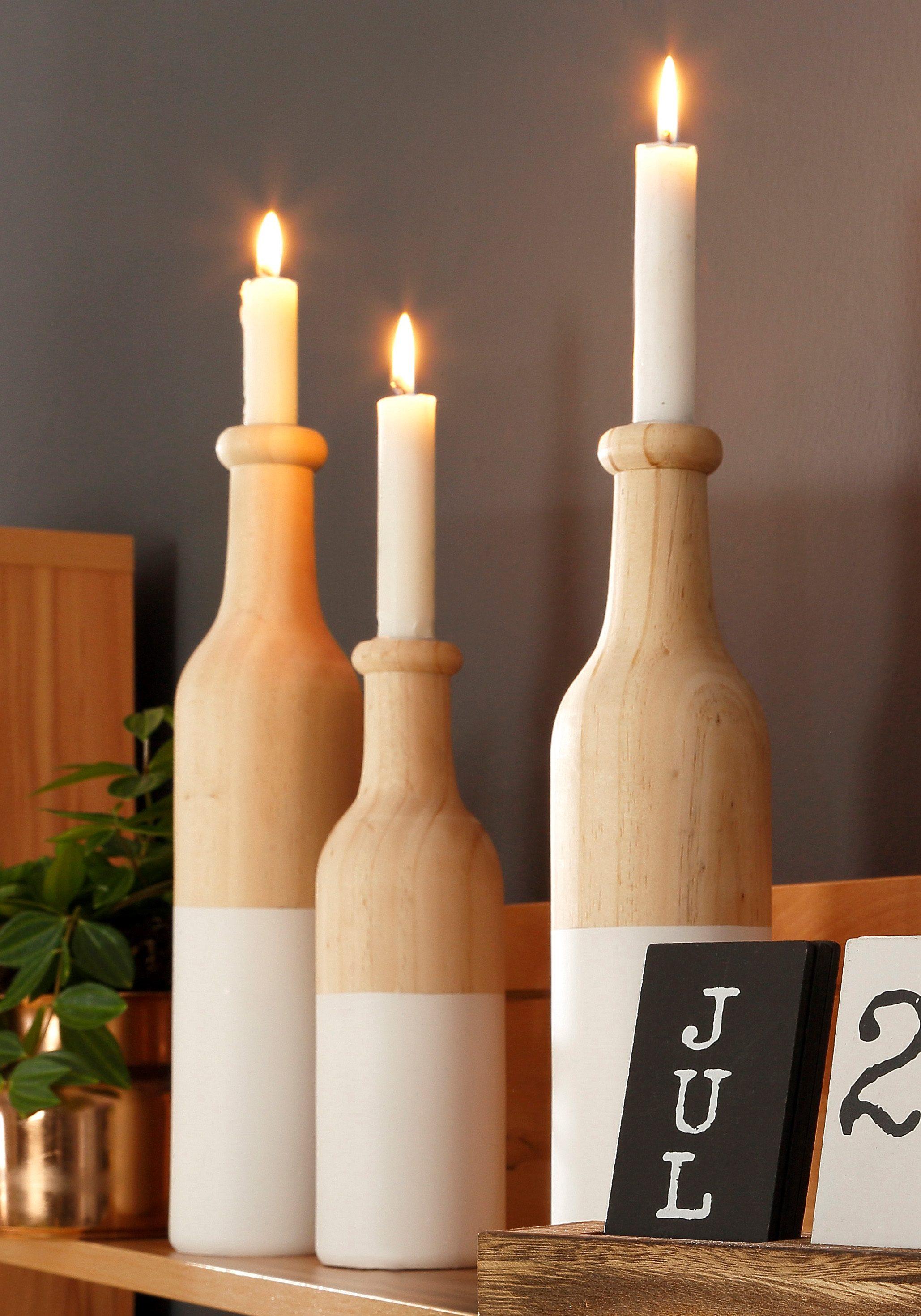 Home affaire Kerzenständer »Flaschen«, (3-tlg.)