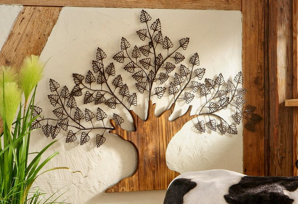 Baum Aus Metall Und Holz Als Wanddekoration