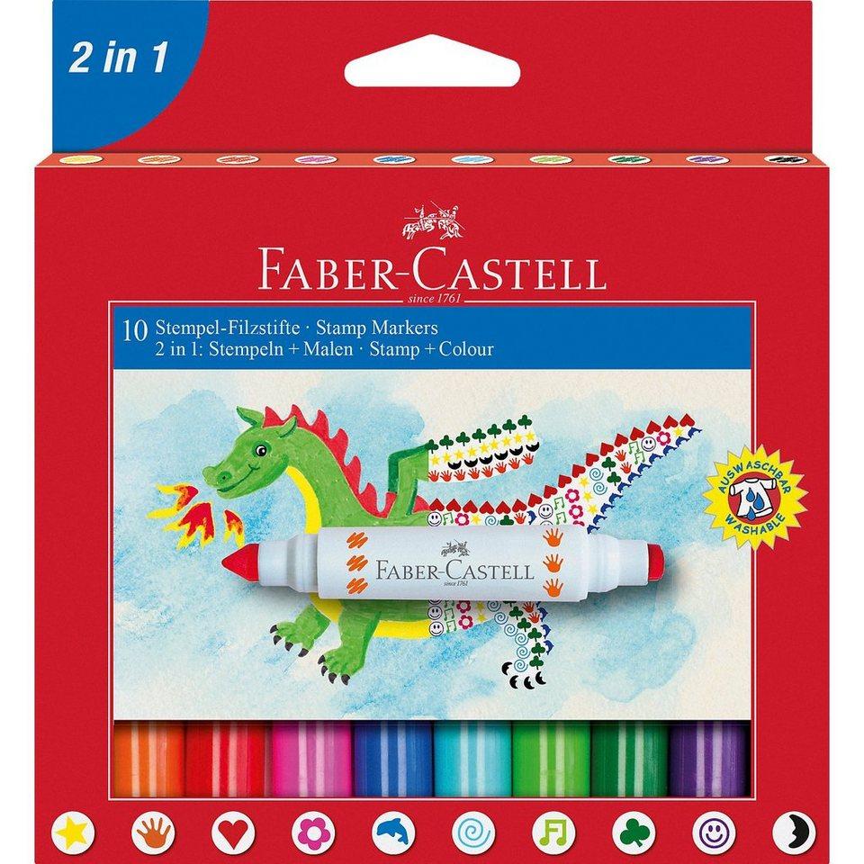 Faber-Castell Filzstifte 2in1 Stempeln & Malen, 10 Farben