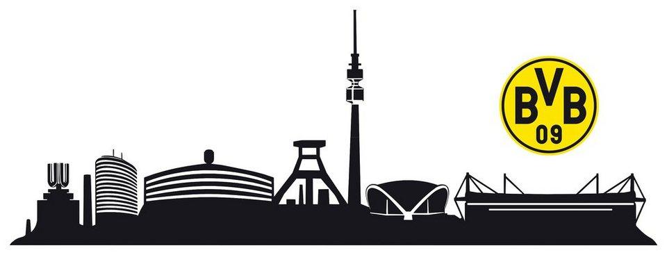 Wandtattoo bvb skyline mit logo 120 20 cm otto - Wandtattoo dortmund ...