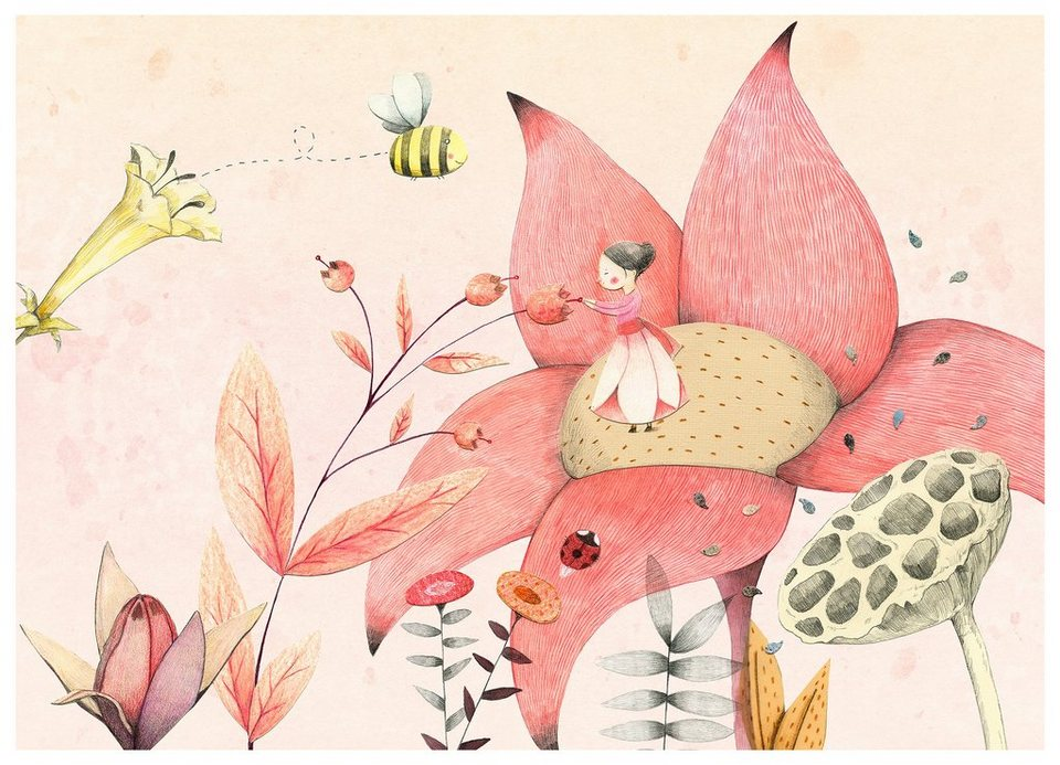 Home affaire Fototapete » Loske - Däumelinchen«, 350/250 cm in rosa