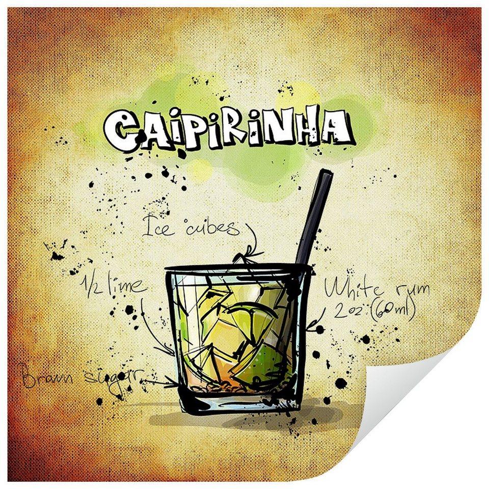 Home affaire Wandtattoo »Caipirinha - Rezept«, 50/50 cm in mehrfarbig