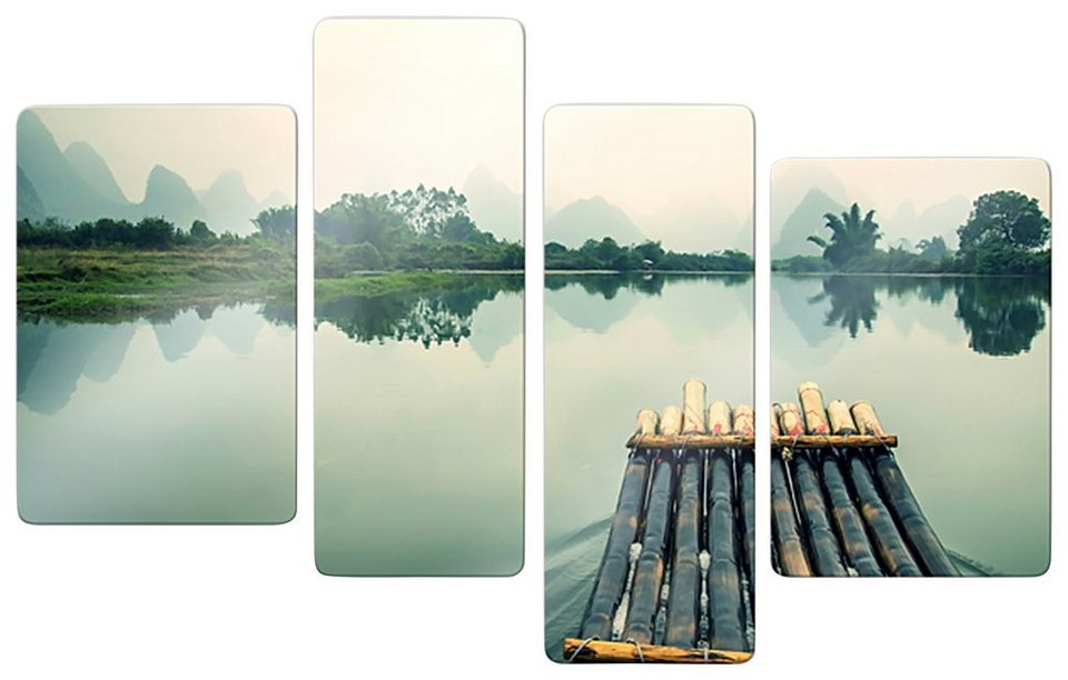 Home affaire Glasbild »Floßfahrt in China«, 4-tlg. in mehrfarbig