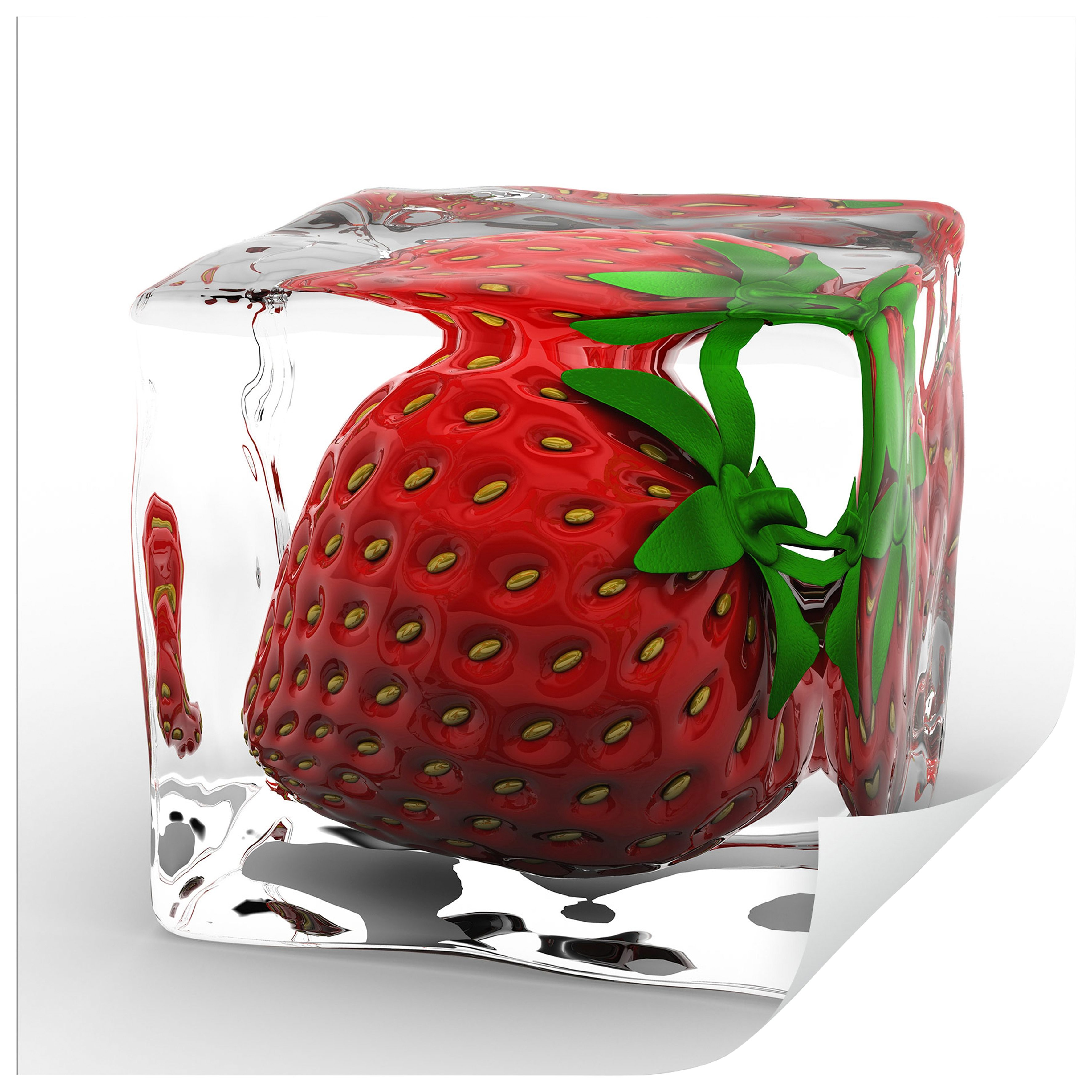 Home affaire Wandtattoo »Erdbeereiswürfel«, 50/50 cm