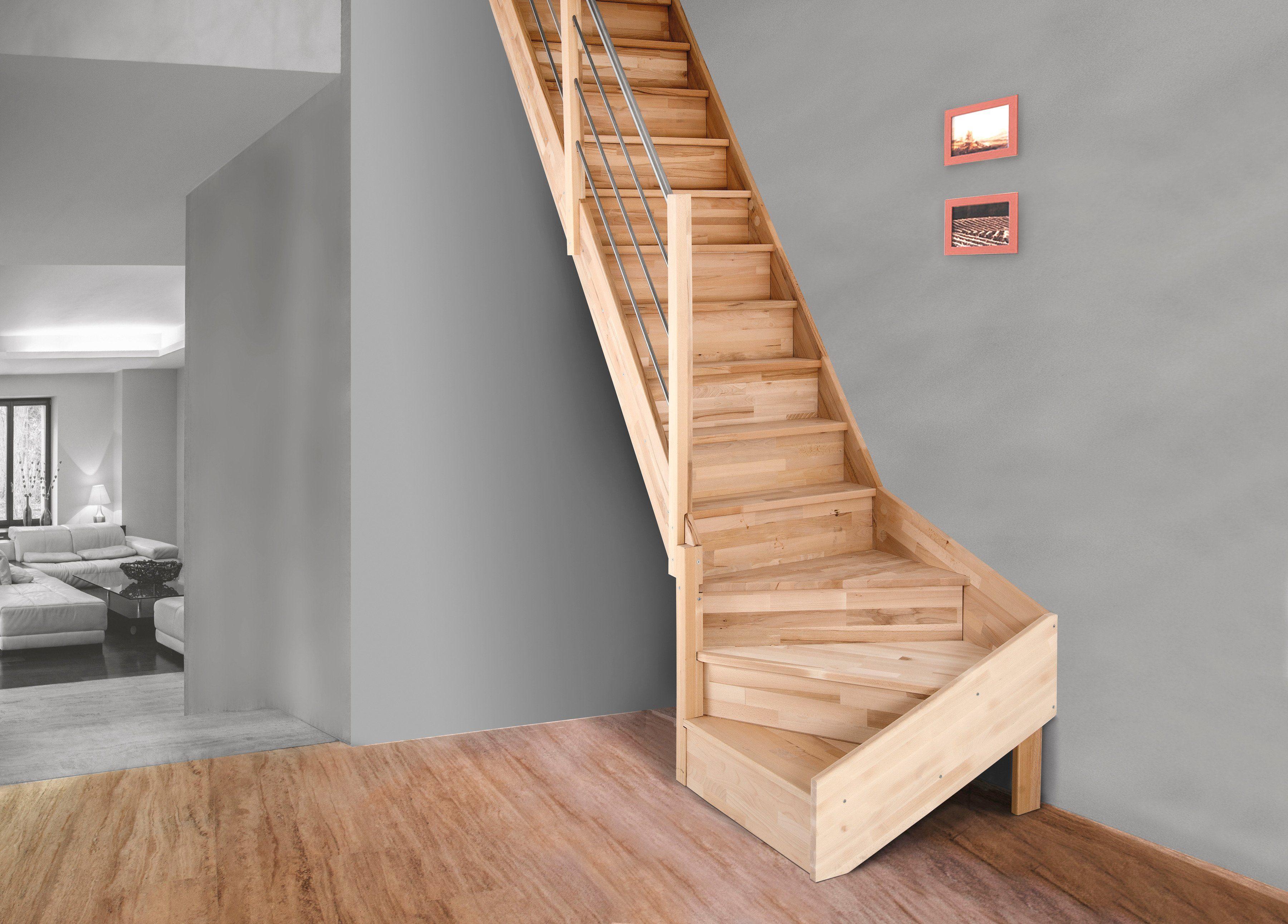 STARWOOD Raumspartreppe »Rhodos«, offene Stufen, gerade, Holzgeländer links