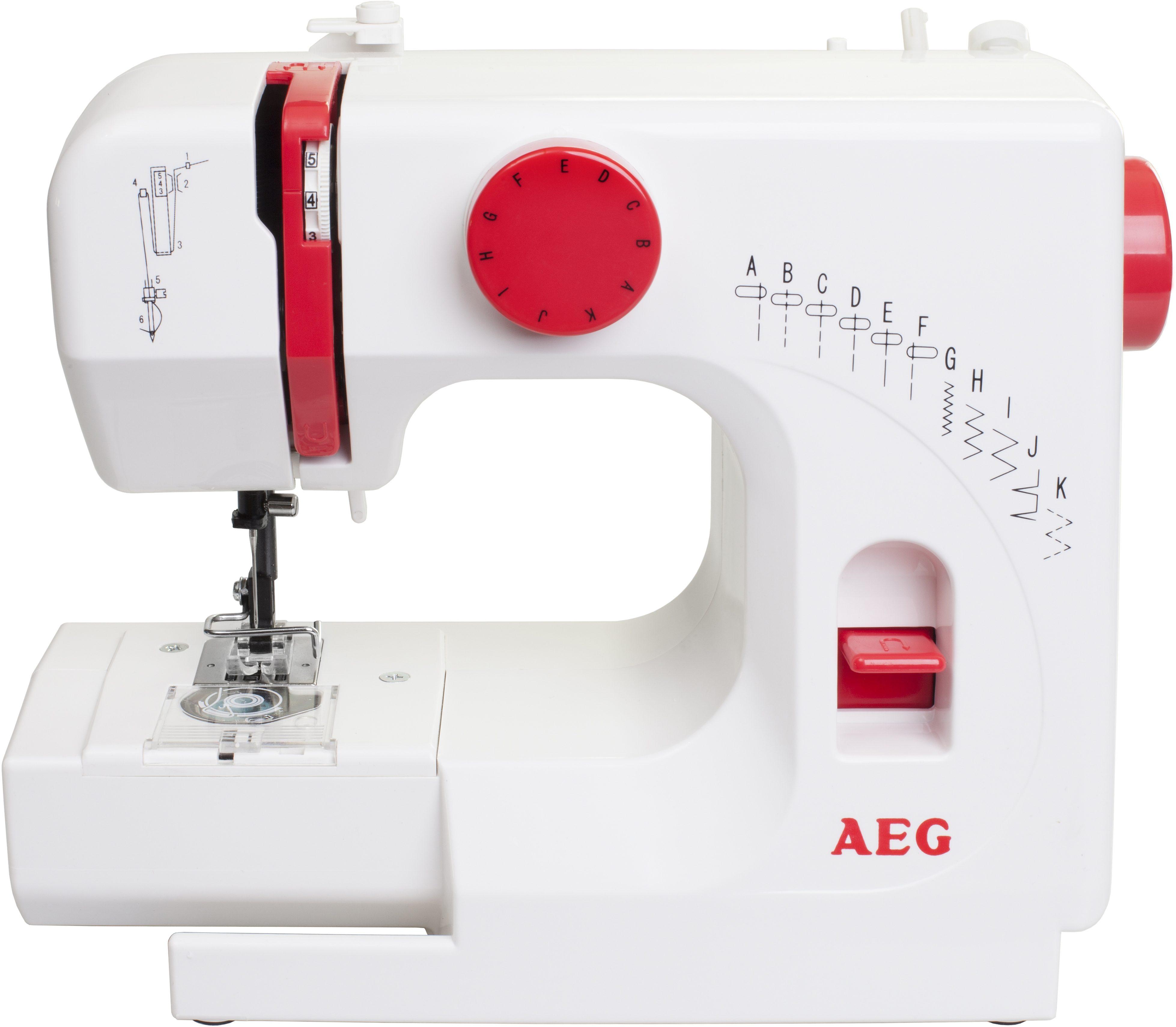 AEG Nähmaschine NM-525A, 11 Programme, klein, kompakt und handlich, mit Zubehör
