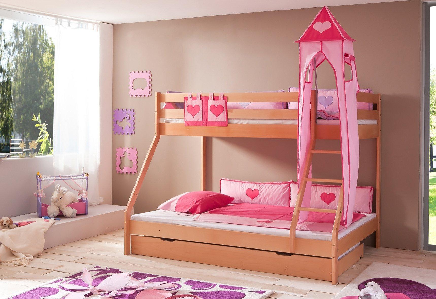 Relita Etagenbett, Set 3-tlg. »Mike« | Kinderzimmer > Kinderbetten > Etagenbetten | Weiß | Massiver - Buche - Textil - Massiv | Relita