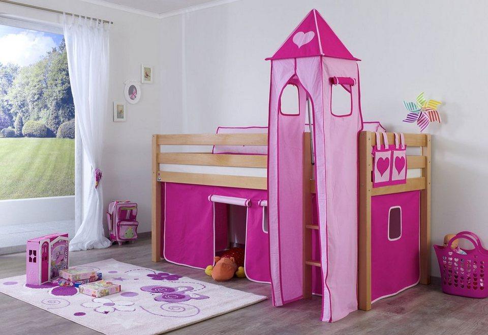 Relita Halbhohes Bett, Set 3-tlg. »Alex« in pink-rosa, Herz