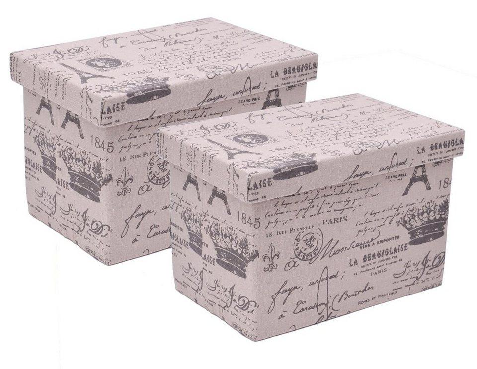 Franz Müller Flechtwaren Aufbewahrungsboxen (2tlg.), rechteckig in beige, grau bedruckt