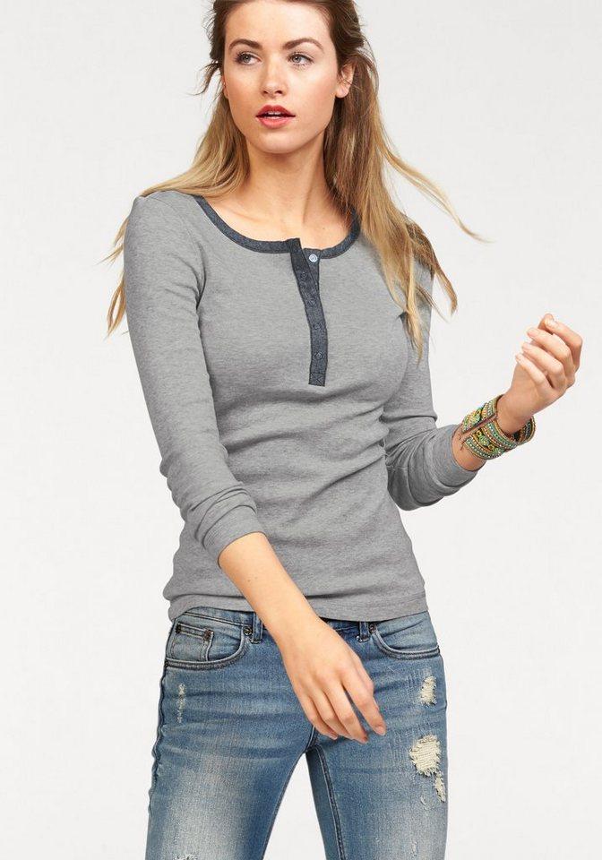 AJC Langarmshirt mit Knopfleiste aus leichtem Denim in grau