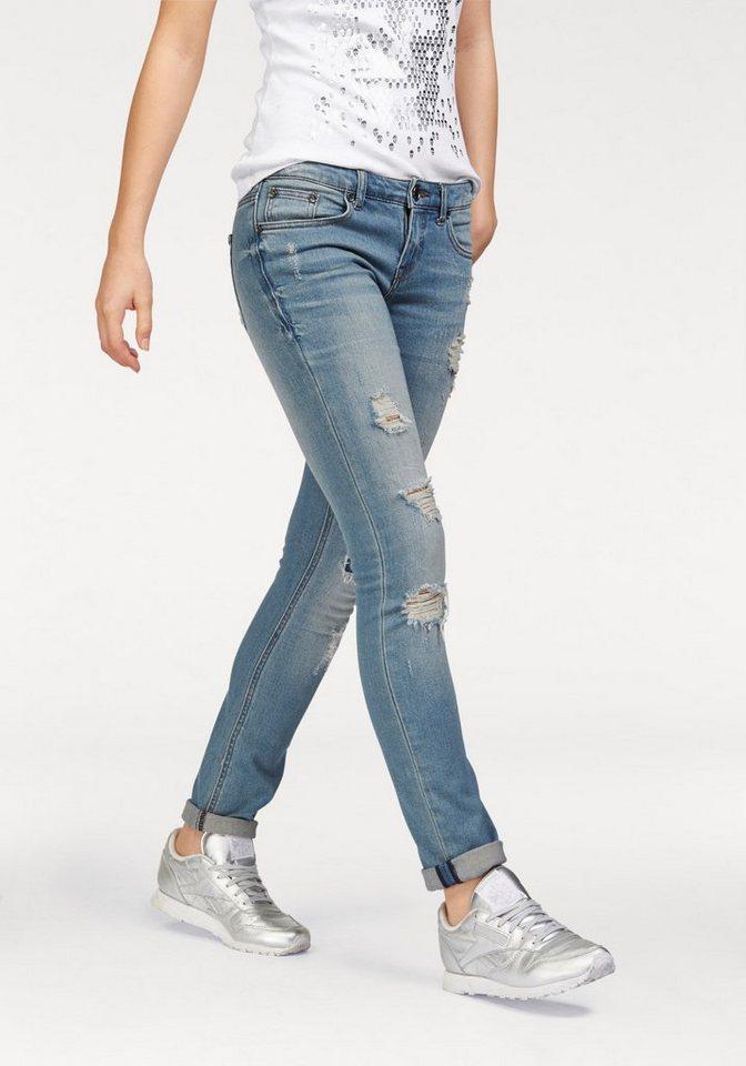 AJC Destroyed-Jeans in schmaler Röhrenform in blue-used